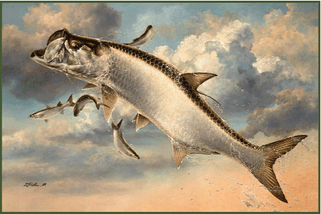 From oil painting: Leaping Tarpon